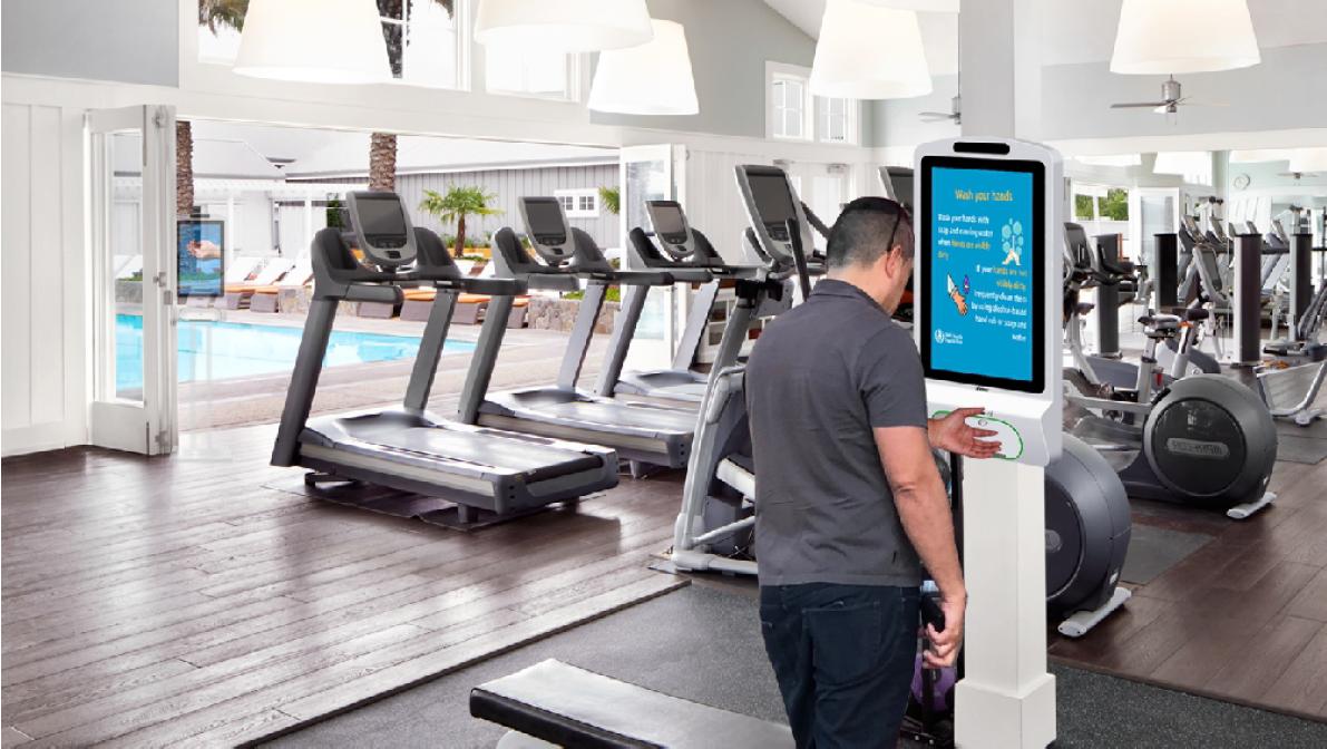 Handdesinfect dispenser in sportscholl of fitness